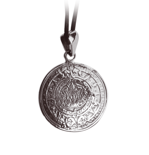 Anhaenger-Aztekenkalender-Silber-Schmuck-Amulett