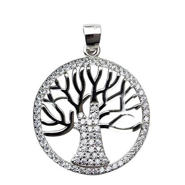 Anhänger Lebensbaum mit Zirkonia aus 925 Sterling Silber rhodiniert B 2,1cm