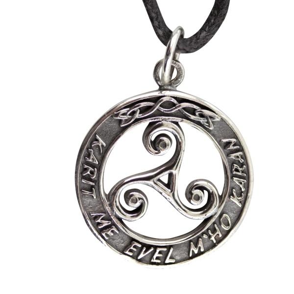 Amulett Dreierwirbel Triskele im Ring 925er Silber Schmuck