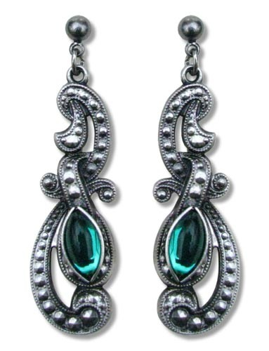 Ohrringe Gothic Beauty antik silberfarben mit grünen Glassteinen aus Tombak