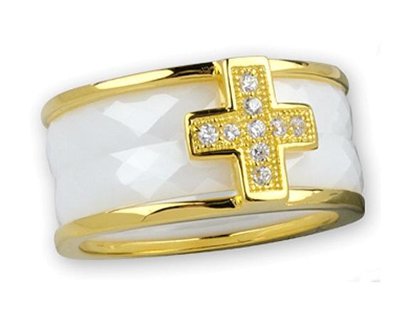 Weisser Kermig Ring mit Gold-Beschichtung