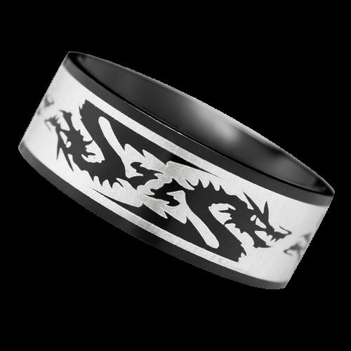 Drachenring schwarz mit Laserdesign