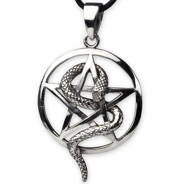 Anhänger Pentagramm mit Schlange 925er Sterling Silber 2,6cm