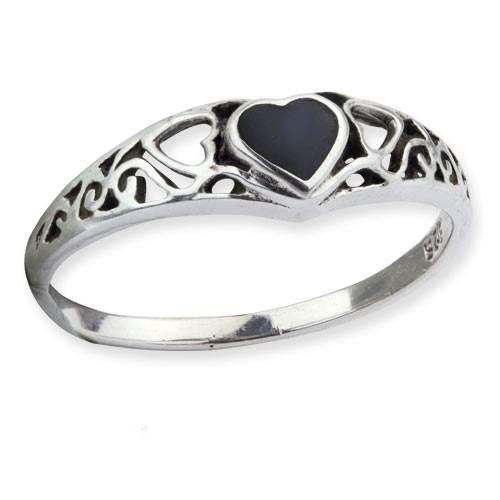 Ring schwarzes Herz Black Heart 925er Sterling Silber mit Onyx