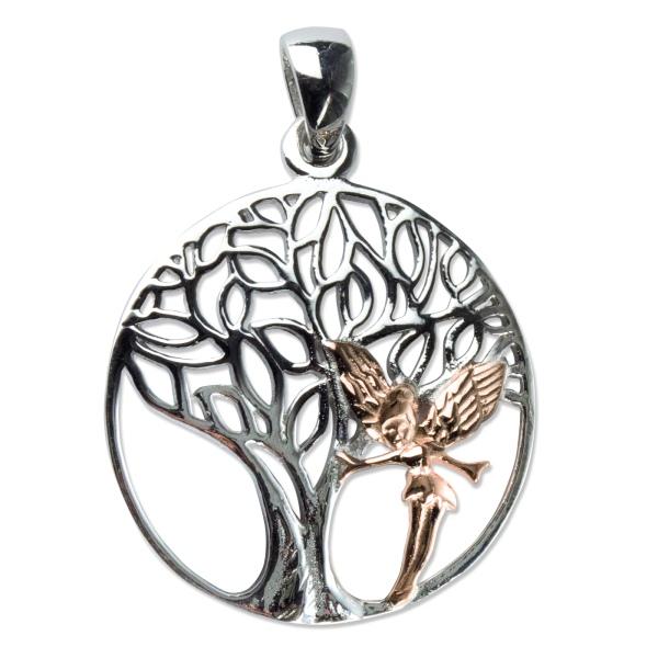 Lebensbaum mit Elfe 925er Sterling Silber mit Rotgold Beschichtung
