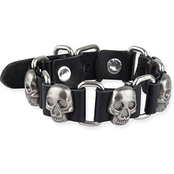 Schwarzes Lederamband mit Totenköpfen aus Metall Länge verstellbar