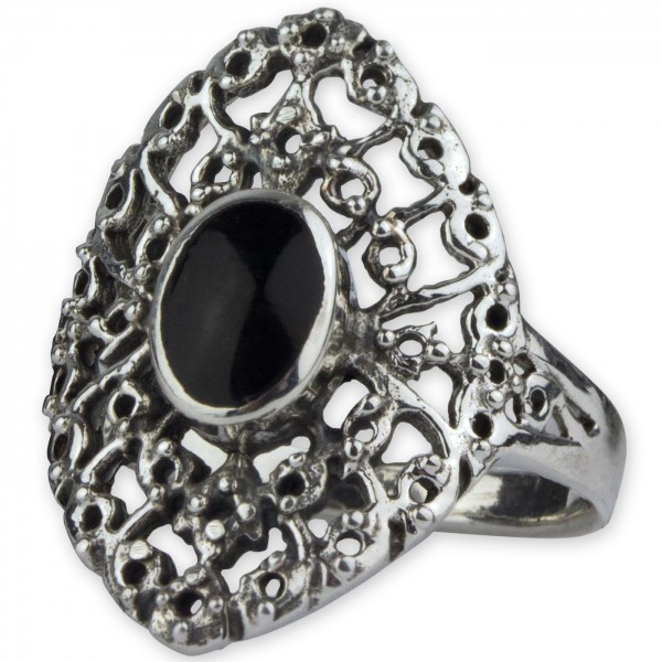 Silberring Medievial Gothic 925 Silber mit Onyx