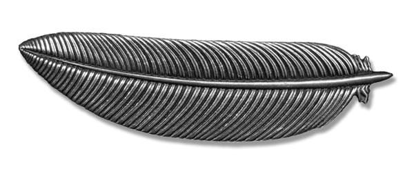 Haarspange Feder englischen Zinn handgegossen silberfarben Spangenlänge 7cm