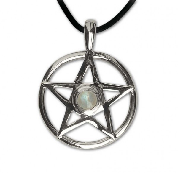 Amulett Pentagram mit Mondstein