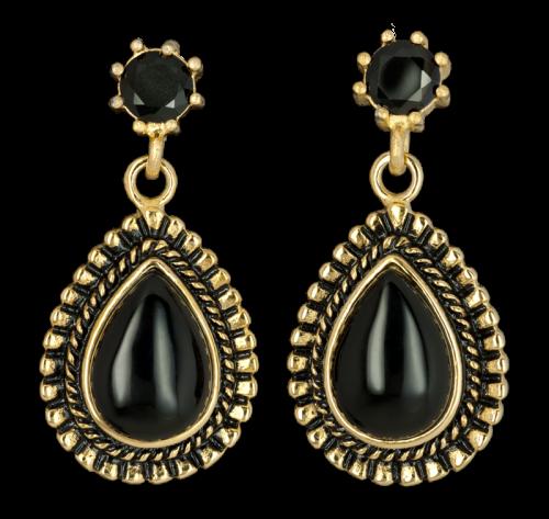 Ohrringe Black Drops mit schwarzem Zirkonia Edelstahl goldfarben