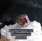 Ring Gothic Red Square Edelstahl mit Zirkonia rot