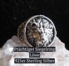 Siegelring Löwe aus 925 Silber