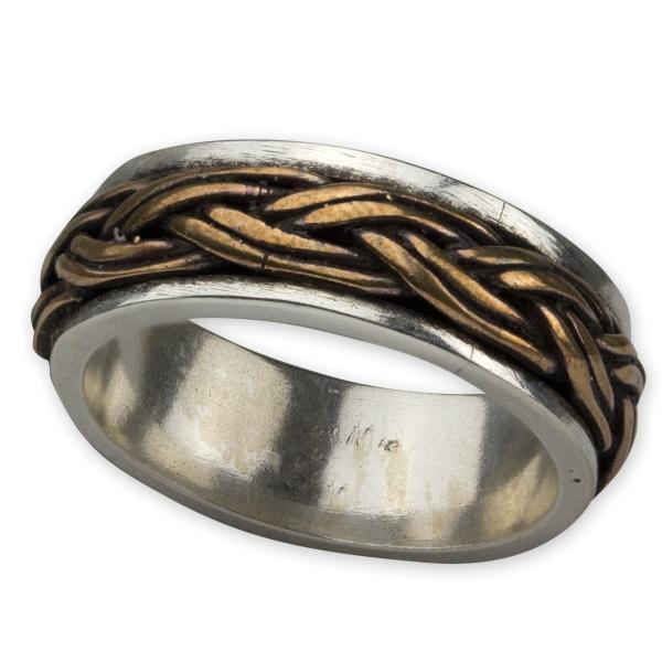 Ring mit keltischen Knoten zweifarbig 925er Sterling Silber mit Bronze
