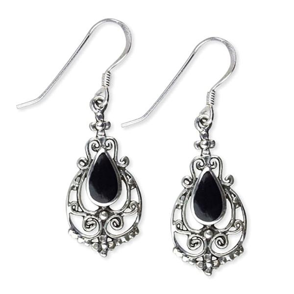 Damenohrringe Gothic Ornament aus 925 Silber mit Onyx schwarz