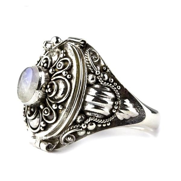 Giftring zum Öffnen im Gothic Stil 925 Silber mit Mondstein