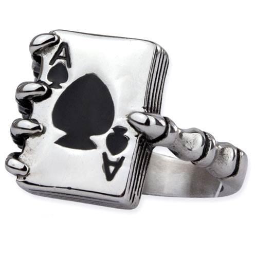 Ring Knochenhand mit Ace of Spades Pik As aus Edelstahl Rockabilly
