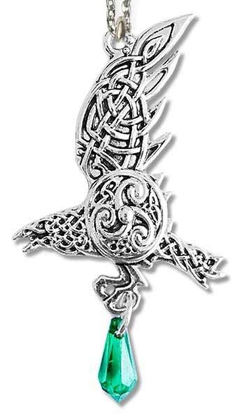 Anhänger Rabe mit keltischen Motiven silberfarbene Zinklegierung mit grünen Zirkonia mit Kette