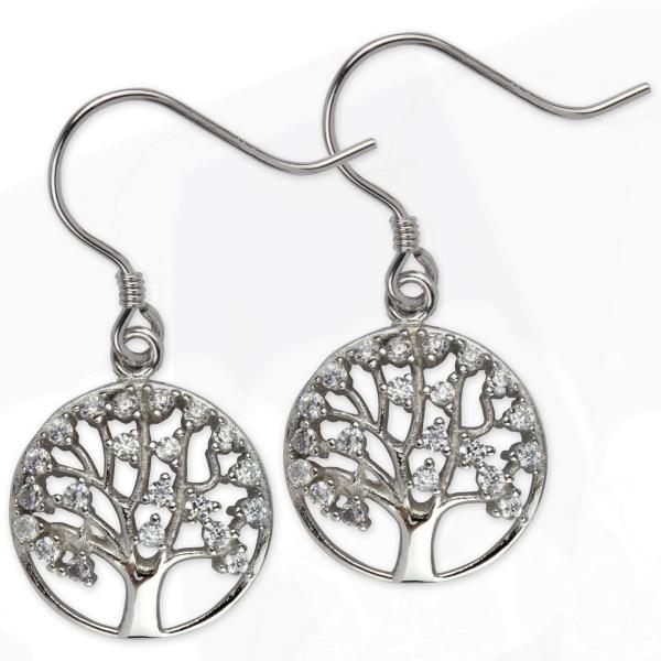 Ohrringe Lebensbaum Baum 925er Sterling Silber rhodiniert mit Zirkonia