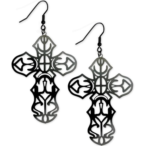 Schwarze Ohrringe Gothic Cross aus Edelstahl beschichtet