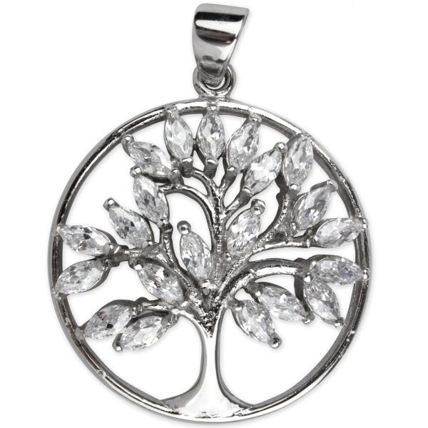 Anhänger Lebensbaum Baum des Lebens 925 Sterling Silber mit Zirkonia