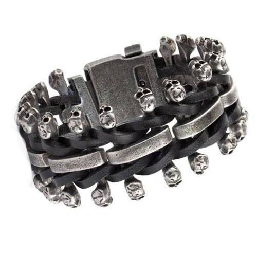 Armband Totenköpfe mit Leder Skulls on Leather Totenkopfarmband aus Edelstahl Größe verstellbar
