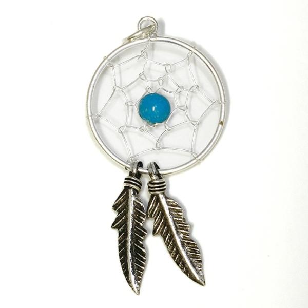 Anhänger Dreamcatcher Traumfänger 925er Sterling Silber mit Türkis Indianerschmuck Länge 3,1cn