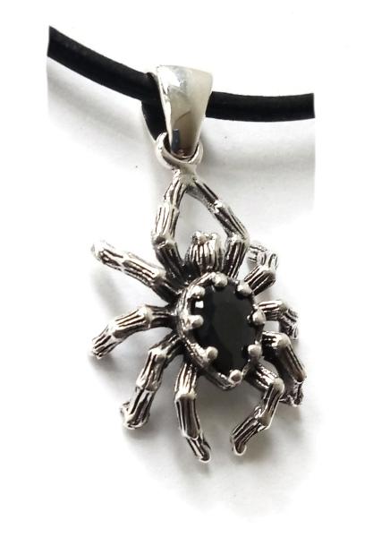 Anhänger Spinne aus 925er Sterling Silber mit schwarzen Zirkonia