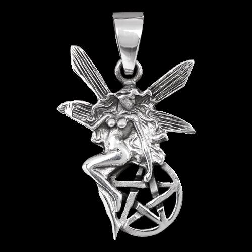 Elfe auf einem Pentagramm aus 925er Sterling Silber .