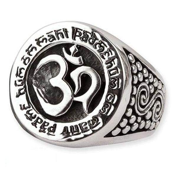 Ring Om Aum Signet mit Mantra 925er Sterling Silber