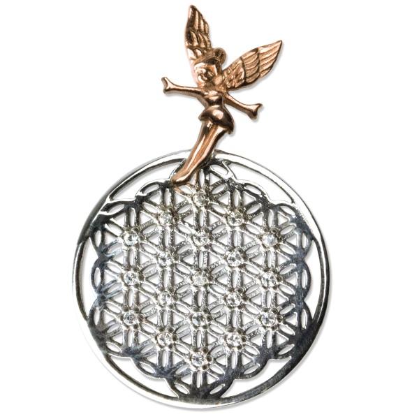 Anhänger Blume des Lebens mit Elfe aus 925er Sterling Silber