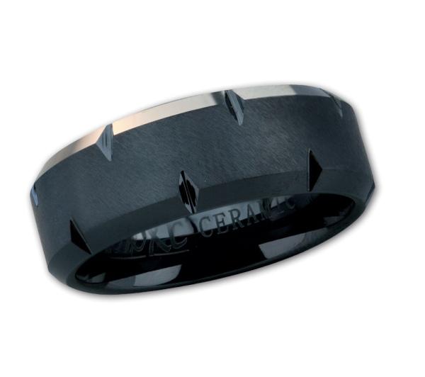Herreneing Profil aus schwarzem Keramik