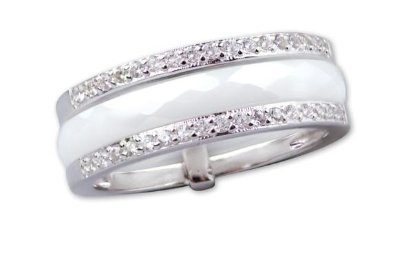 Weißer Ring aus Keramik 925er Sterling Silber mit Zirkonia