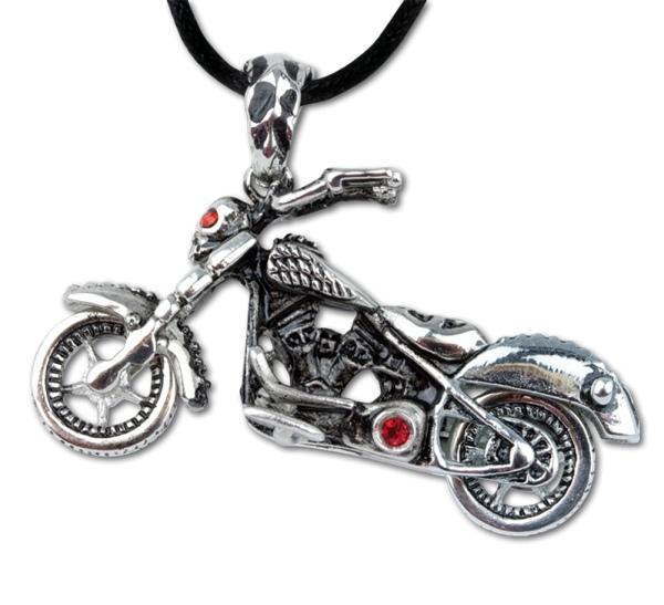 Anhänger Motorrad mit Totenkopf Skull Bike
