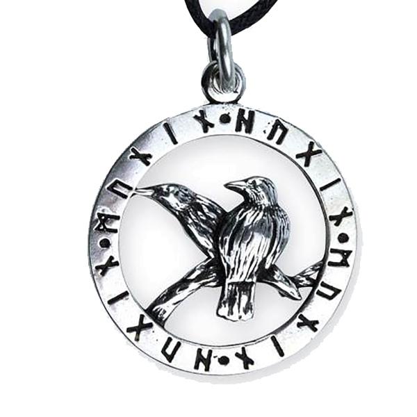 Anhänger Odins Raben Hugin und Mugin mit Runen 925er Sterling Silber