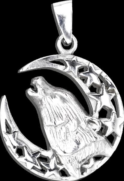 Anhänger Wolf im Halbmond aus 925er Sterling Silber