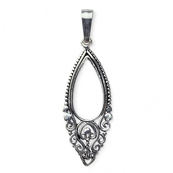 Anhänger Oval Oriental Ornament 925 Sterling Silber