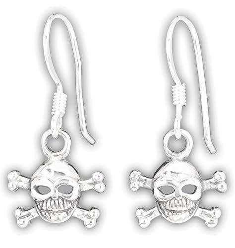 Ohrringe Totenkopf Skull and Bones Ohrhänger aus 925er Sterling Silber