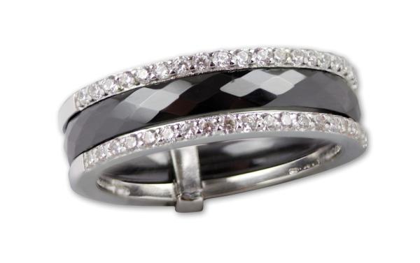 Schwarzer Ring aus Keramik Breite 0,6cm 925er Sterling Silber mit Zirkonia