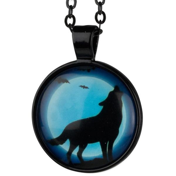 Heulender Wolf in der Nacht Schwarze Kette mit Anhänger