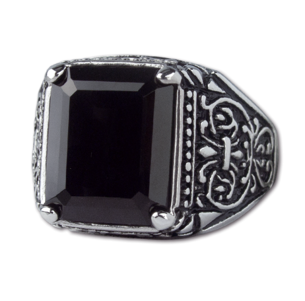 Ring Black Ornament Edelstahl mit Onyx