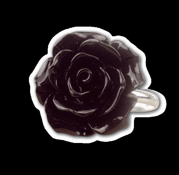 Schwarze Rose 925er Sterling Silber - Rose aus Polyresin