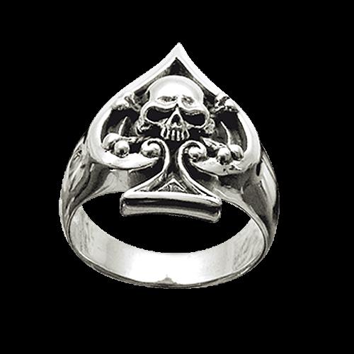 Ring Ace of Spades mit Totenkopf Edelstahl Pik As