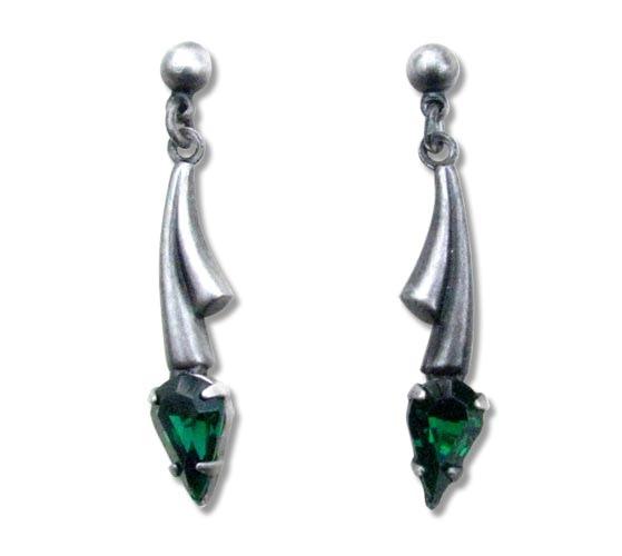 Ohrringe Gothic Fantasy silberfarben mit grünen Zirkonia