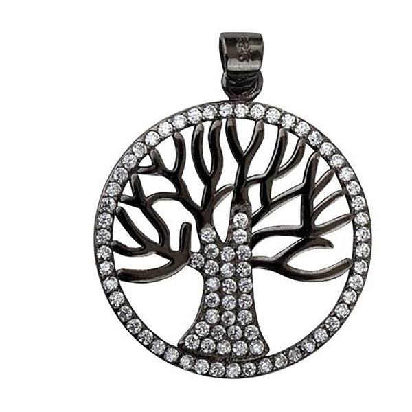 Anhänger Lebensbaum aus 925 Sterling Silber schwarz rhodiniert mit weissen Zirkonia B 2,1cm
