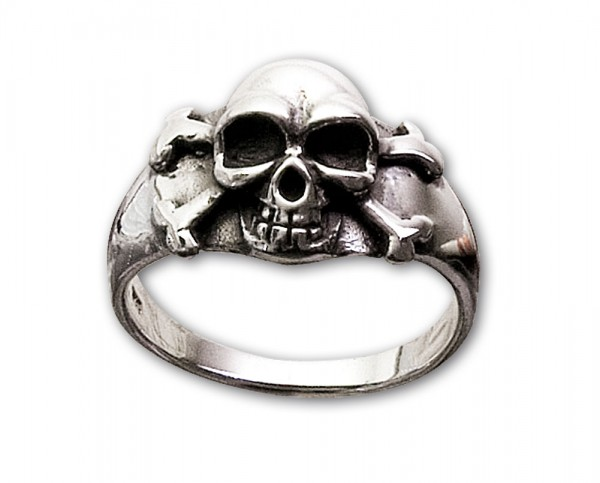 Totenkopfring mit Skull and Bones 925er Sterling Silber