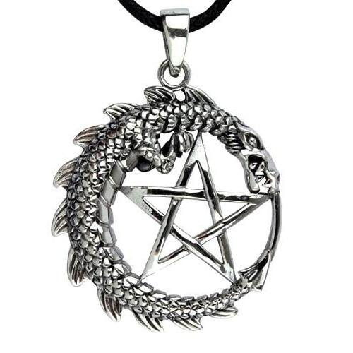 Amulett Drache mit Pentagramm aus 925er Sterling Silber mit Lederband