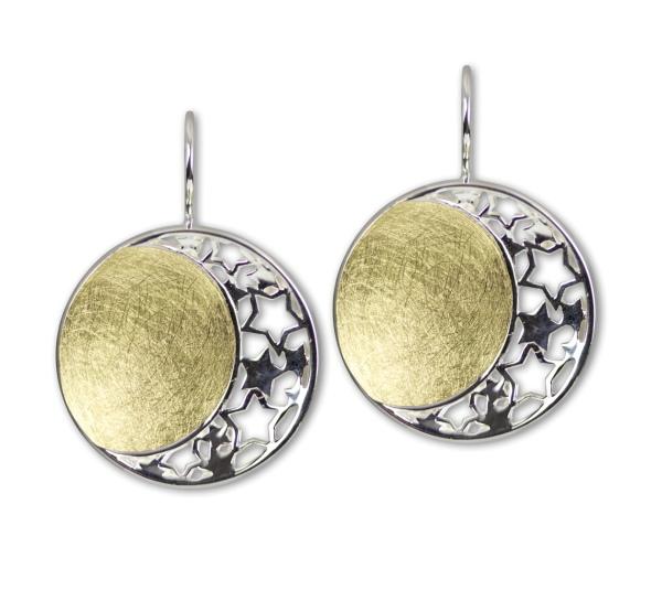 Ohrringe Mond und Sterne Stars and Moon 925er Sterling Silber teilvergoldet