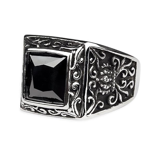 Siegelring Ring Royal Beauty Edelstahl mit schwarzem Zirkonia