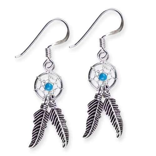 Ohrringe Dreamcatcher Traumfänger mit 2 Federn aus 925er Sterling Silber mit Türkis Indianer Schmuck