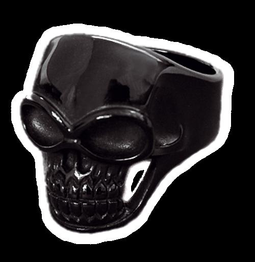 Ring schwarzer Totenkopf Skull aus Edelstahl
